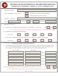 """""""Residential Property Approval and Authorization Form"""" - Delaware"""