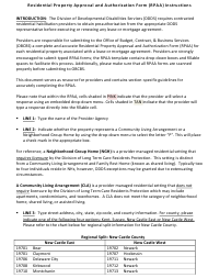 """Instructions for """"Residential Property Approval and Authorization Form (Rpaa)"""" - Delaware"""