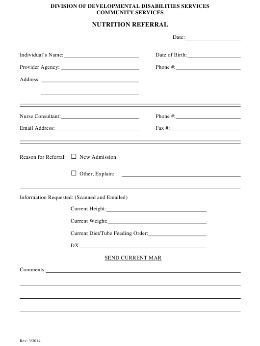 """Nutrition Referral Form"" - Delaware Download Pdf"