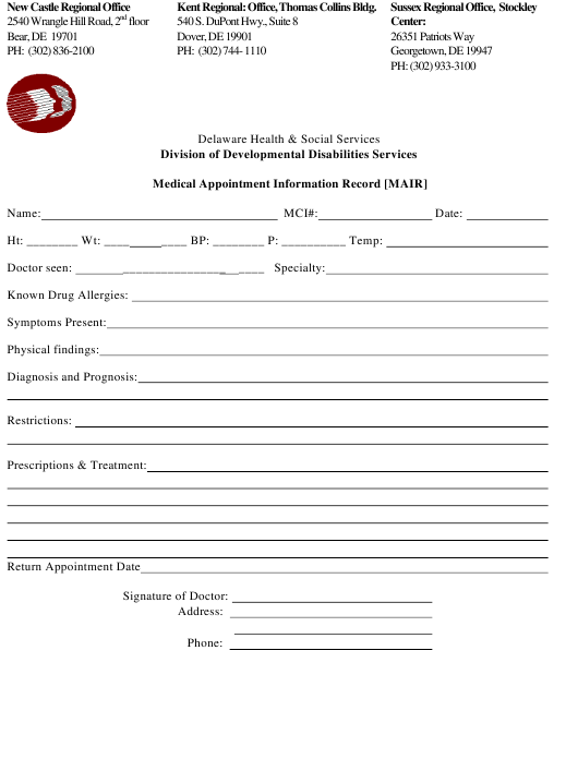 """Medical Appointment Information Record [mair] Form"" - Delaware Download Pdf"
