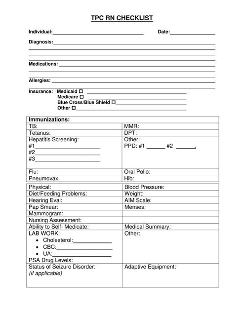 """""""Tpc Rn Checklist"""" - Delaware Download Pdf"""