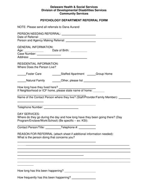 """""""Psychology Department Referral Form"""" - Delaware Download Pdf"""