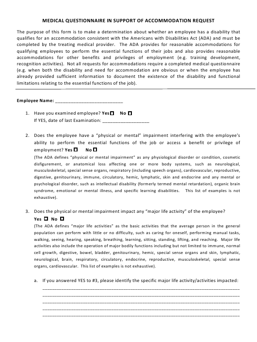 """Medical Questionnaire in Support of Accommodation Request"" - Delaware Download Pdf"