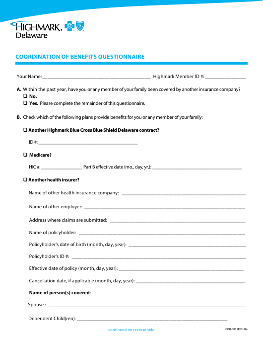 """Coordination of Benefits Questionnaire Form - Highmark Delaware"" - Delaware Download Pdf"