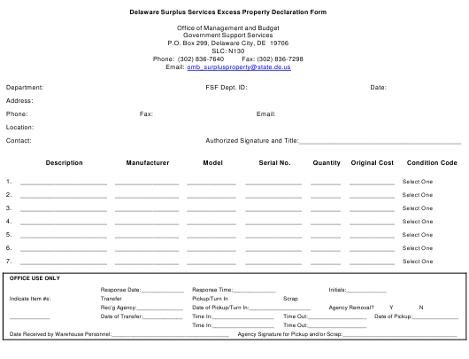 """Delaware Surplus Services Excess Property Declaration Form"" - Delaware Download Pdf"