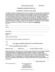 """Eligibility Certification Form"" - Delaware"
