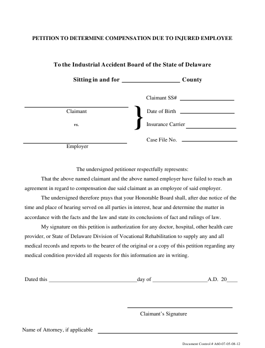 """Petition to Determine Compensation Due to Injured Employee"" - Delaware Download Pdf"