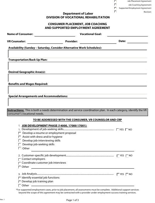 """Consumer Placement, Job Coaching and Supported Employment Agreement Form"" - Delaware Download Pdf"