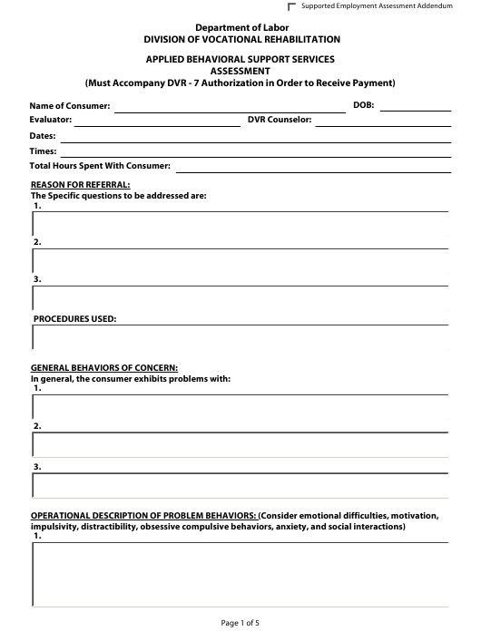 """Applied Behavioral Support Services Assessment Form"" - Delaware Download Pdf"