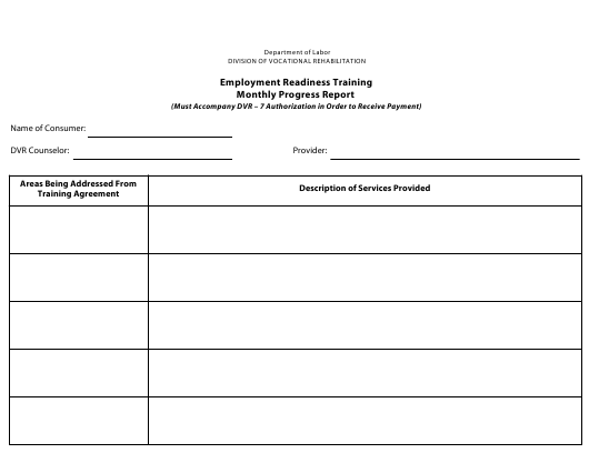 """""""Monthly Progress Report Form - Employment Readiness Training"""" - Delaware Download Pdf"""