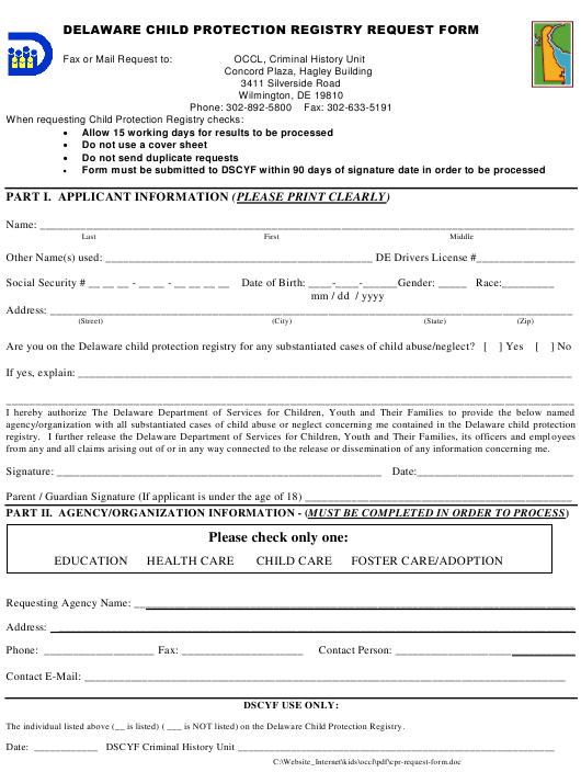 """Delaware Child Protection Registry Request Form"" - Delaware Download Pdf"