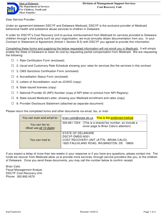 """Rate Certification Form - Day Treatment"" - Delaware Download Pdf"