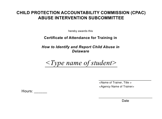 """Certificate of Attendance for Training in How to Identify and Report Child Abuse"" - Delaware Download Pdf"