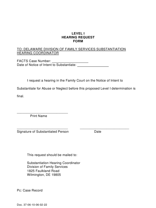 """Level I Hearing Request Form"" - Delaware Download Pdf"