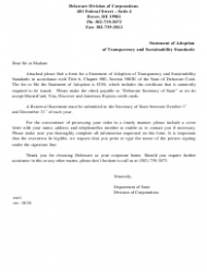 Statement of Adoption of Transparency and Sustainability Standards - Delaware