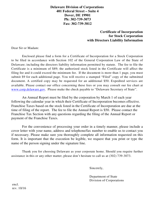 """Certificate of Incorporation for Stock Corporation With Directors Liability Information"" - Delaware Download Pdf"