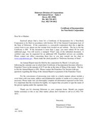Certificate of Incorporation for Non-stock Corporation - Delaware