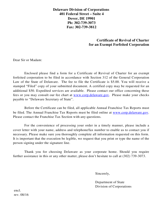 """""""Certificate of Revival of Charter for an Exempt Forfeited Corporation"""" - Delaware Download Pdf"""