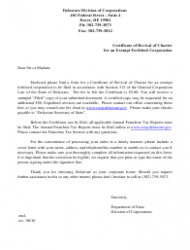 Certificate of Revival of Charter for an Exempt Forfeited Corporation - Delaware
