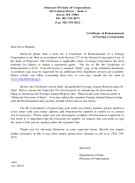 """""""Certificate of Reinstatement of Foreign Corporation"""" - Delaware"""