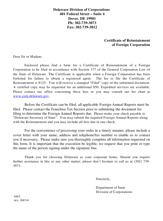 """Certificate of Reinstatement of Foreign Corporation"" - Delaware Download Pdf"