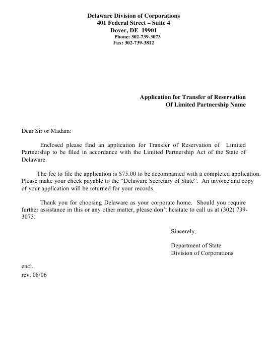 """Application for Transfer of Reservation of Limited Partnership Name"" - Delaware Download Pdf"