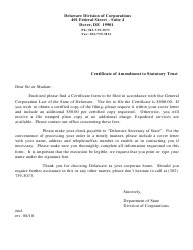 """Certificate of Amendment to Statutory Trust"" - Delaware"
