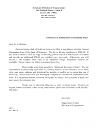 Certificate Of Amendment To Statutory Trust - Delaware