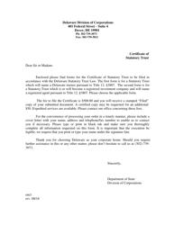 """Certificate of Statutory Trust"" - Delaware"