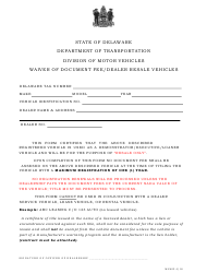 "Form MV602 ""Waiver of Document Fee/Dealer Resale Vehicles"" - Delaware"