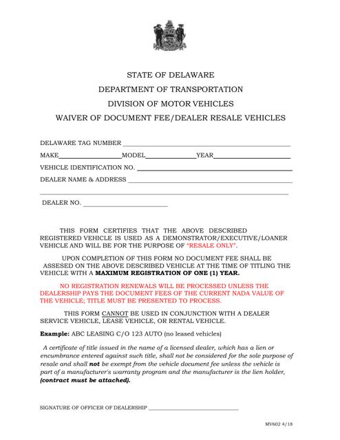 Form MV602  Printable Pdf