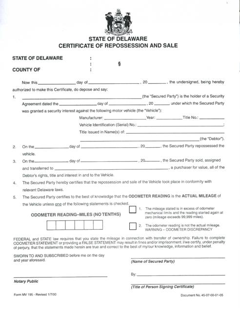 Form MV195  Printable Pdf