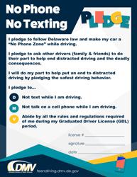 """""""No Phone No Texting Pledge"""" - Delaware"""