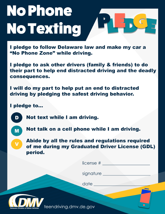 """No Phone No Texting Pledge"" - Delaware Download Pdf"