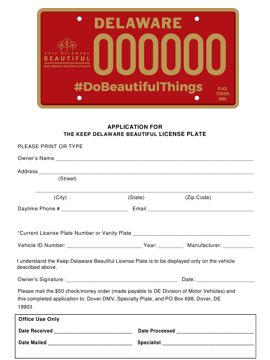 """""""Application for the Keep Delaware Beautiful License Plate"""" - Delaware Download Pdf"""