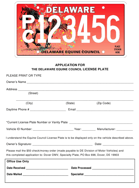 """""""Application for the Delaware Equine Council License Plate"""" - Delaware Download Pdf"""
