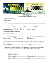 """Application for Environmental License Plate"" - Delaware"