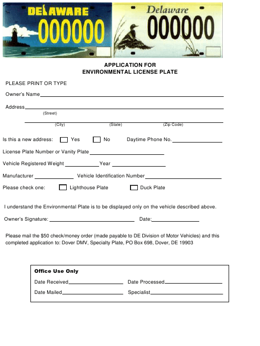 """Application for Environmental License Plate"" - Delaware Download Pdf"