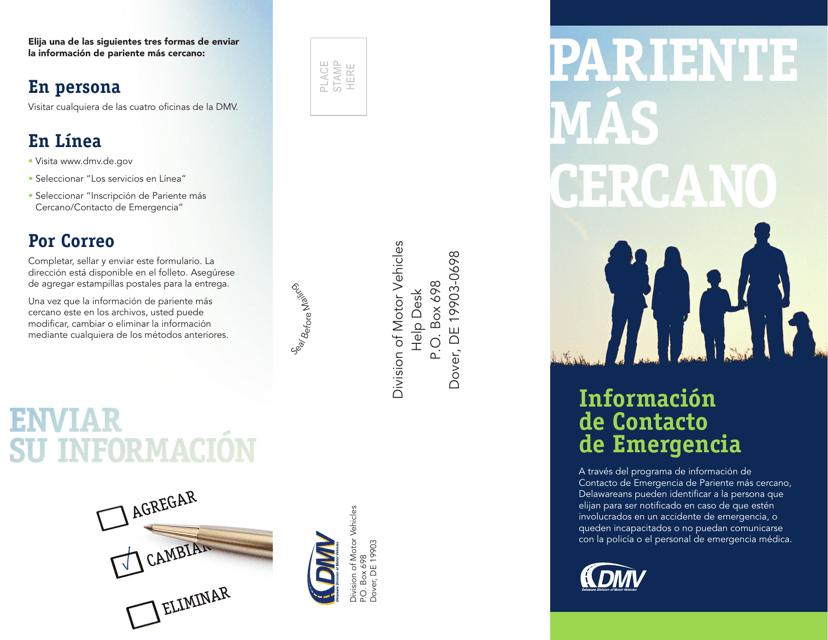 """""""Formulario De Informacion De Contacto De Emergencia"""" - Delaware (Spanish) Download Pdf"""