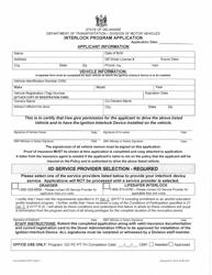 "Form 2008 IID APP ""Interlock Program Application Form"" - Delaware"