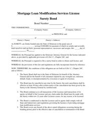 """""""Mortgage Loan Modification Services License Surety Bond"""" - Delaware"""