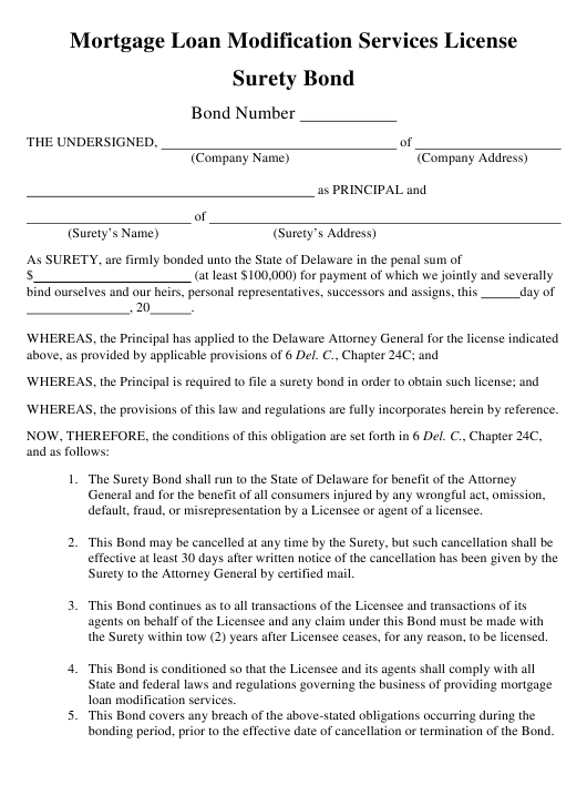 """Mortgage Loan Modification Services License Surety Bond"" - Delaware Download Pdf"