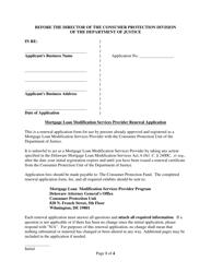 """Mortgage Loan Modification Services Provider Renewal Application Form"" - Delaware"
