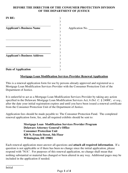 """Mortgage Loan Modification Services Provider Renewal Application Form"" - Delaware Download Pdf"