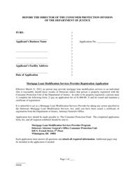 """Mortgage Loan Modification Services Provider Registration Application Form"" - Delaware"