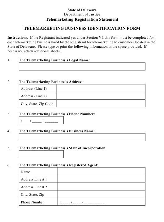 """Telemarketing Business Identification Form"" - Delaware Download Pdf"