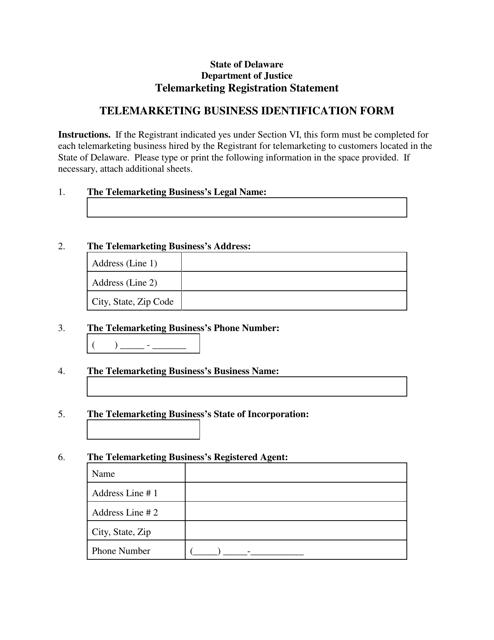"""Telemarketing Business Identification Form"" - Delaware Download Pdf"