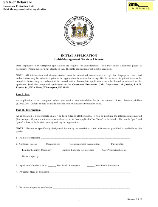 """Initial Application Form - Debt-Management Services License"" - Delaware Download Pdf"