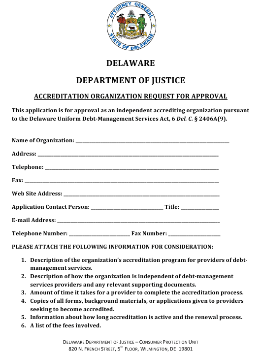 """""""Accreditation Organization Request for Approval"""" - Delaware Download Pdf"""