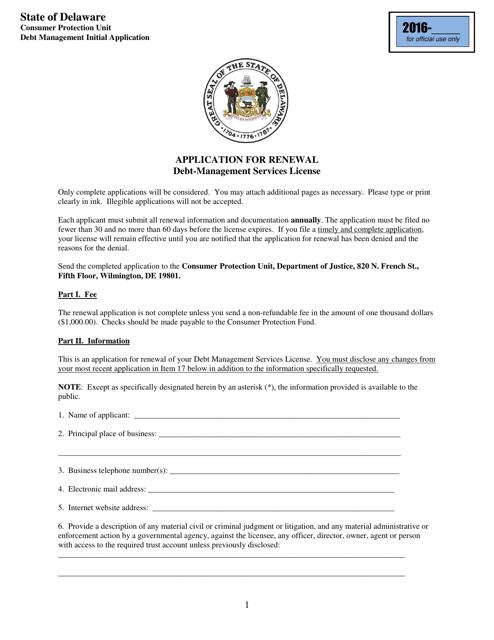 """""""Application for Renewal - Debt-Management Services License"""" - Delaware Download Pdf"""